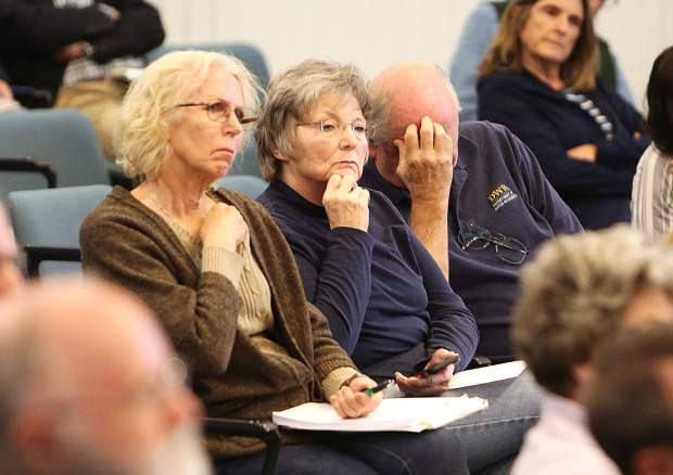 Attendees of Thursday evening's NID District 1 and Supervisor District 1 joint town hall meeting scratch their heads and react during to the responses.