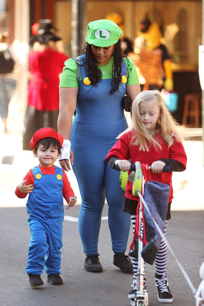 Two-year-old Caleb Gaball and his mother Kolini came dressed as Mario and Luigi.