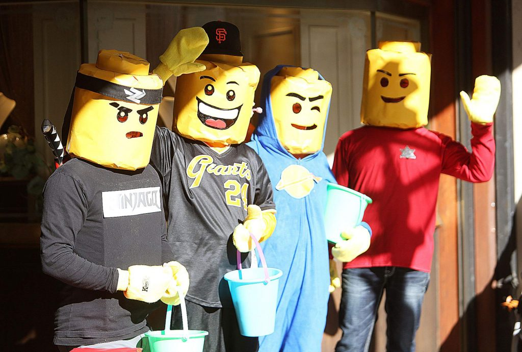 A selection of stylin' Lego people were there to hand out candy in front of Stucki Jewelers.