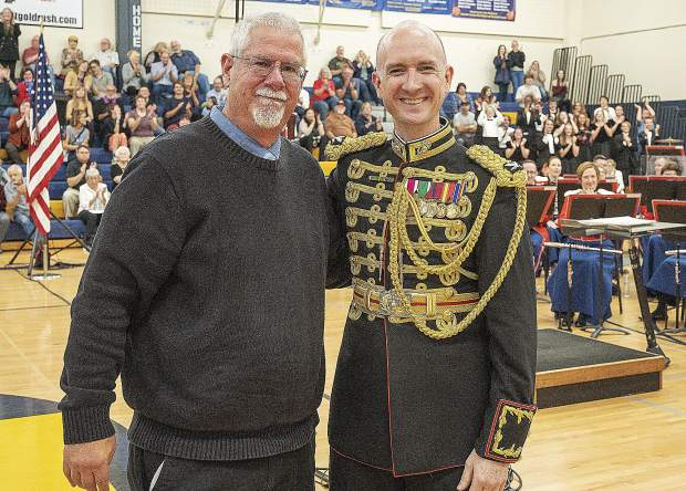Colonel Jason K. Fettig and the U.S. Marine Band recognized Nevada Union's band teacher Ken Carter for his 40-year career. Carter plans to retire in June.