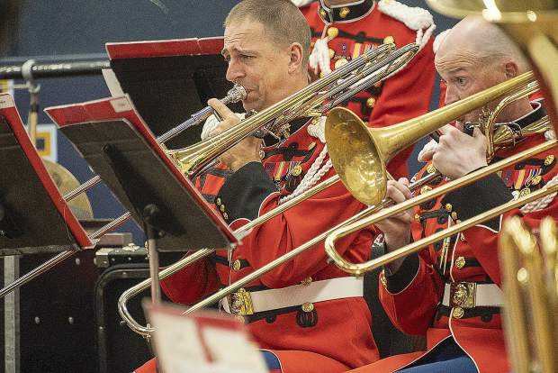 The trombone section plays Friday during the performance at Nevada Union Friday.