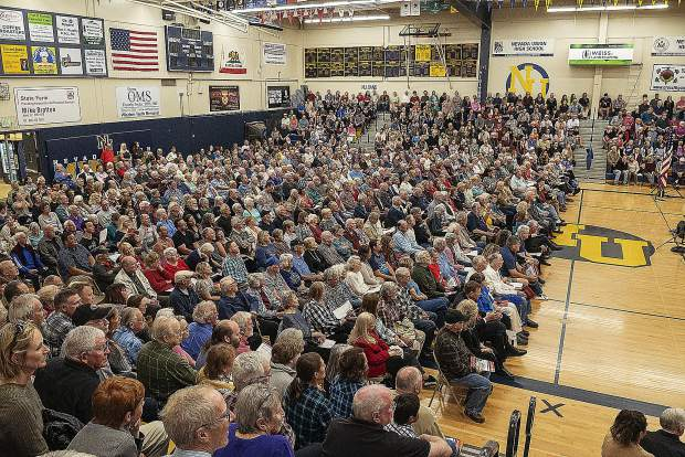 A reported 1,500 people filled the gymnasium for the concert.