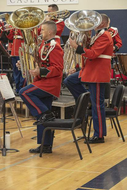 The tuba section playing during the national anthem at the beginning of Friday's concert.