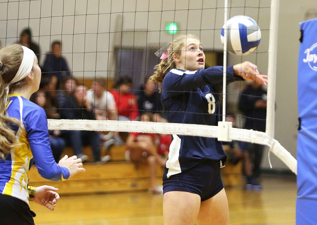 A Forest Lake Christian player bumps the ball during the Falcons' three set first round playoff win Thursday at home.