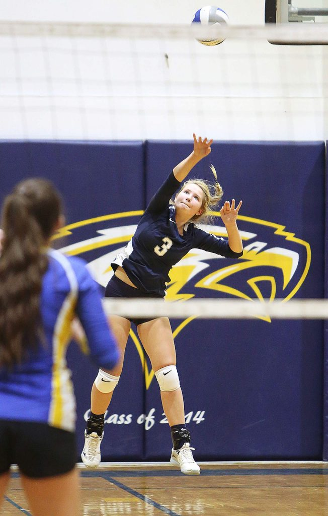 Forest Lake Christian's Ellie Wood (3) lets a serve fly for the Falcons.