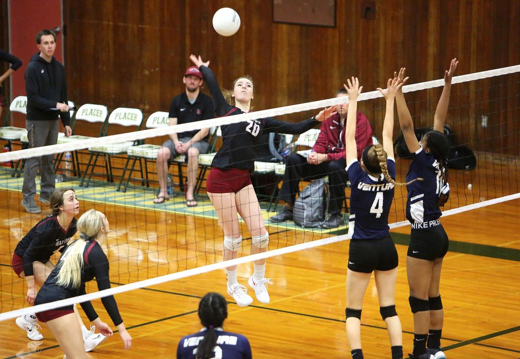 """Bear River 5'10"""" senior Gracie Terrell (20) readies to send a spike over the net during Tuesday's playoff win over Venture Academy."""