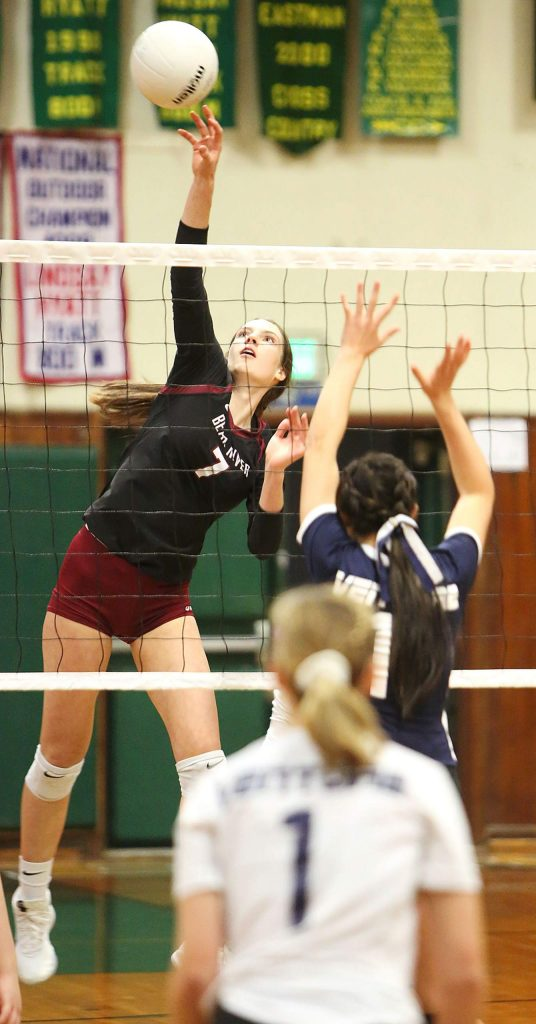 Bear River junior Sydney Franks (7) fakes her Venture Academy opponents during their first round playoff win at Placer High School Tuesday evening.