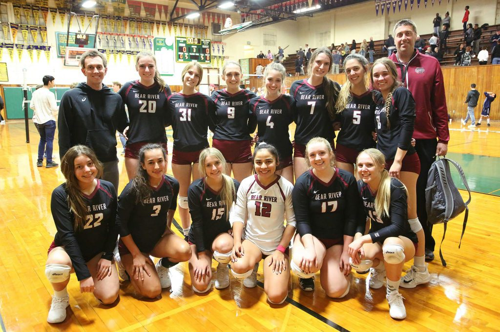 The Bear River varsity girls volleyball team was all smiles following their first round playoff victory over Venture Academy. The game was played at Placer High School due to the PG&E power shutdowns.