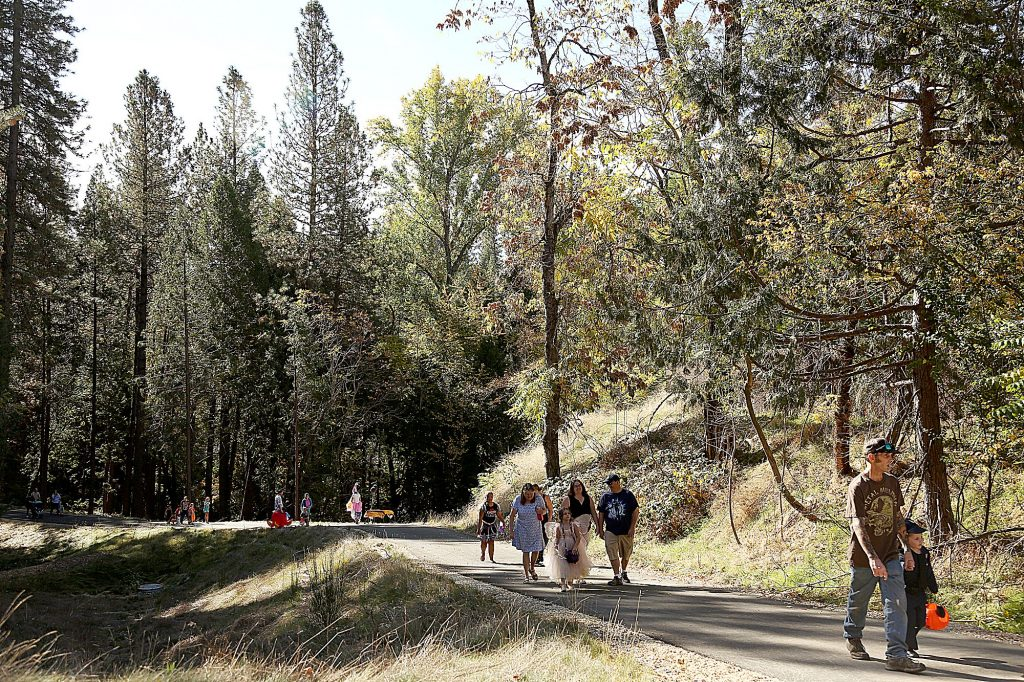 The trick-or-treaters walk through nature along the Wolf Creek Trail Saturday.