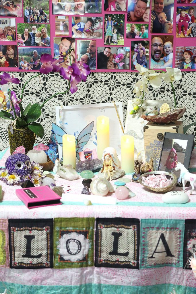 This memorial altar is on display for Lola Alvarez, who died at two and a half years old due to a Neuroblastoma cancer. Even in her cancer treatment her sassy personality dazzled family friends and medical staff.