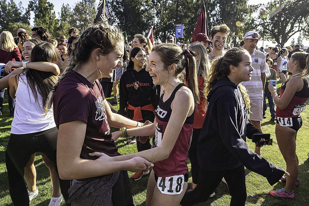 Chico State's Nora Pizzella (center) led the Wildcats to a seventh place team finish at the 2019 NCAA Division II Cross Country Championships Saturday in Sacramento. Pizzella is a 2016 Nevada Union grad.