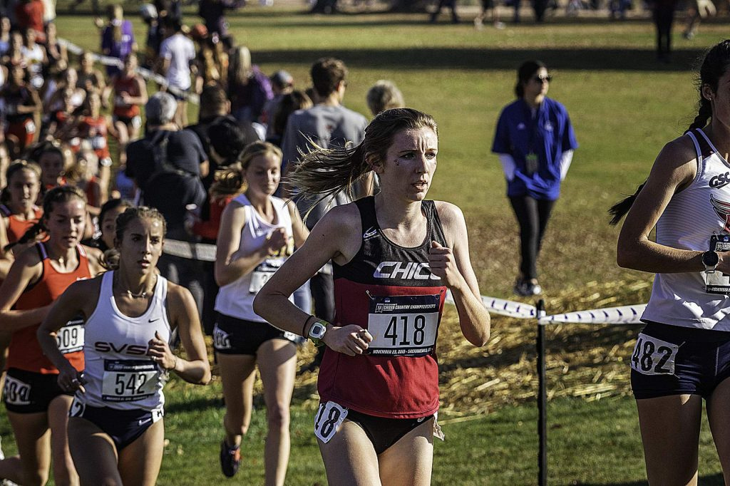 Chico State's Nora Pizzella (418) led the Wildcats to a seventh place team finish at the 2019 NCAA Division II Cross Country Championships Saturday in Sacramento. Pizzella is a 2016 Nevada Union grad.