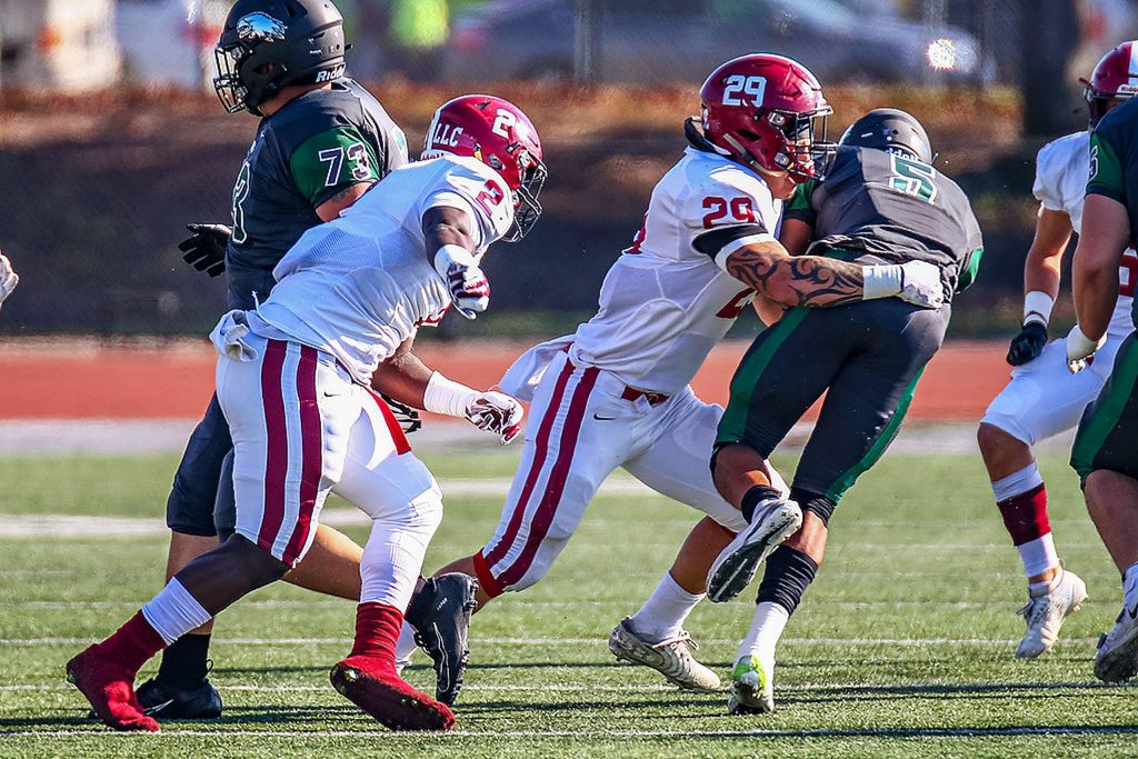 Sierra College linebacker Austin Baze (29), a 2018 Bear River grad, wrapped up nine tackles in the Wolverines' Grizzly Bowl win over Laney College Saturday.