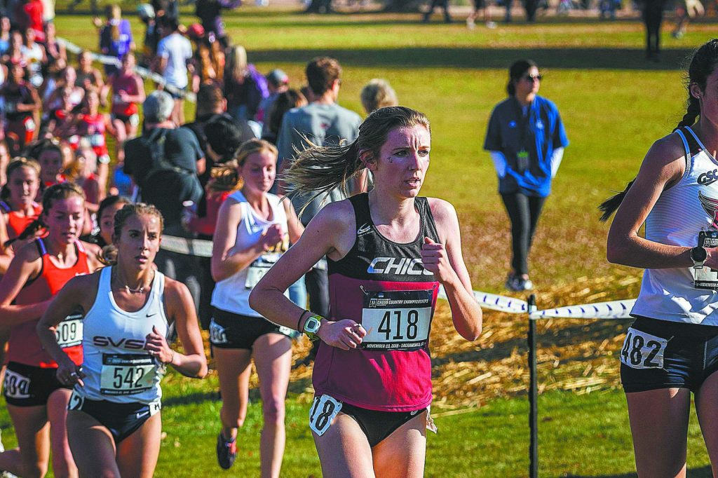 Chico State Wildcats Nora Pizzella (418) (center) compete in the women's 2019 NCAA Division II Cross Country Championships at Haggin Oaks Golf Course on Saturday, November 23, 2019 in Sacramento, Calif.
