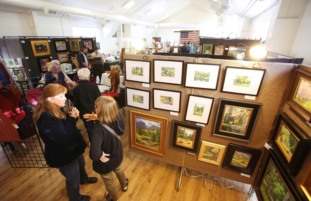 Many were in attendance of the Nevada County Plein Air Painters and friends' annual Holiday Show and Sale held in the Veteran's Memorial Hall in Nevada City.