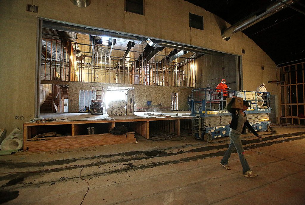 Workers continue on the remodel work going on now at the Center for the Arts building off of West Main Street in downtown Grass Valley.