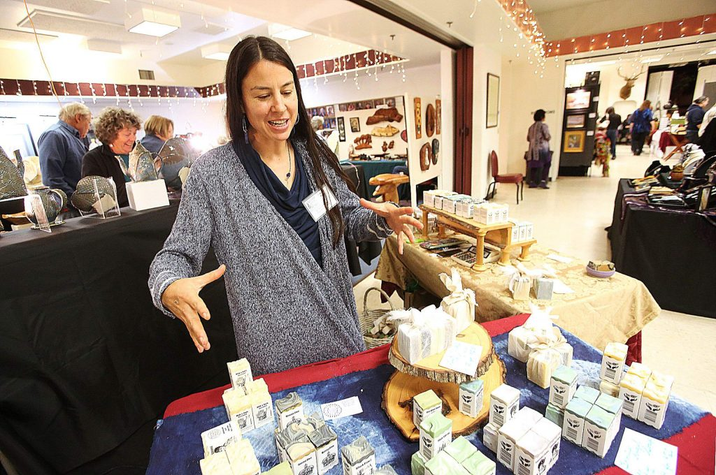 Frontier Angel Soap soapmaker Roxanne Page showcases her wide selection of wholesome handmade body care products she had on sale during the two-day Banner Mountain Artisans Holiday Show & Sale over the weekend. This was Page's first year showing with the Banner Mountain Artisans and joined 30 other local artists with their handmade crafts and wares for sale.