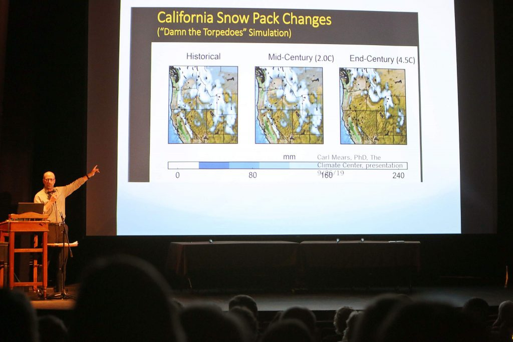A slide shown by Dr. Cutler shows the historical change of the California snow pack over time.