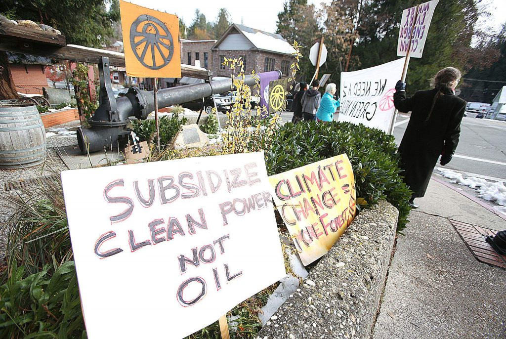 The Nevada County chapter of the Sunrise Movement was out in force Friday morning at the corner of Broad Street and Union Alley in Nevada City standing up for clean energy and climate change awareness. See today's Spotlight on page B2 for more information on the Sunrise Movement.