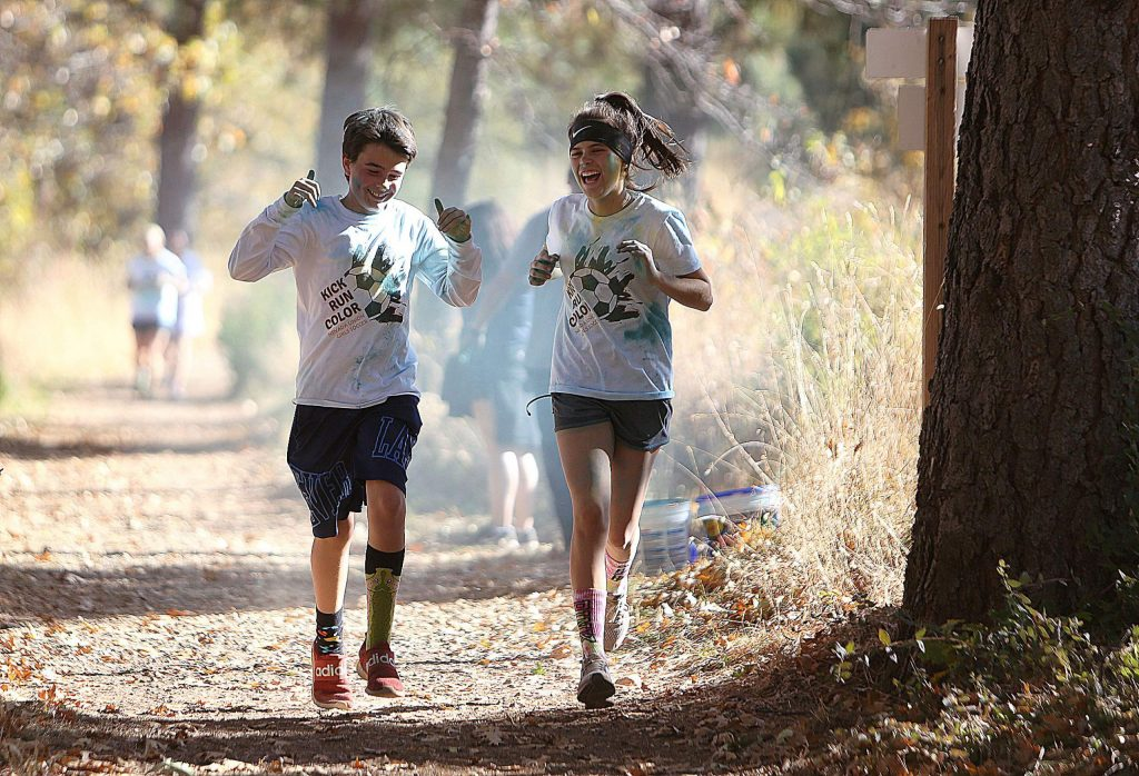The Kick Run Color 5k winds through the Litton Trail before finishing on the lower fields of Nevada Union High School.