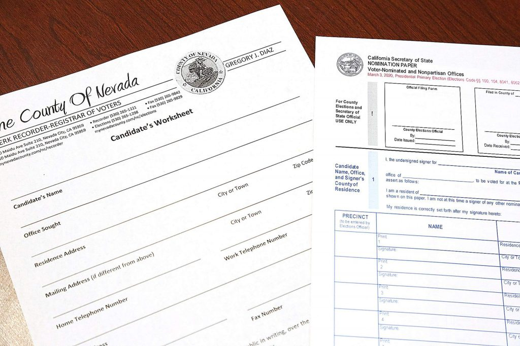 Candidates filing for public office will be given a nomination form to collect the required signatures before a candidates' worksheet can be successfully filed.