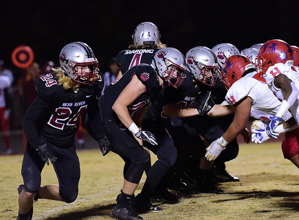 Bear River's offensive line cleared the way for Bruins ball carriers to amass 276 rush yards in their playoff win over Highlands.