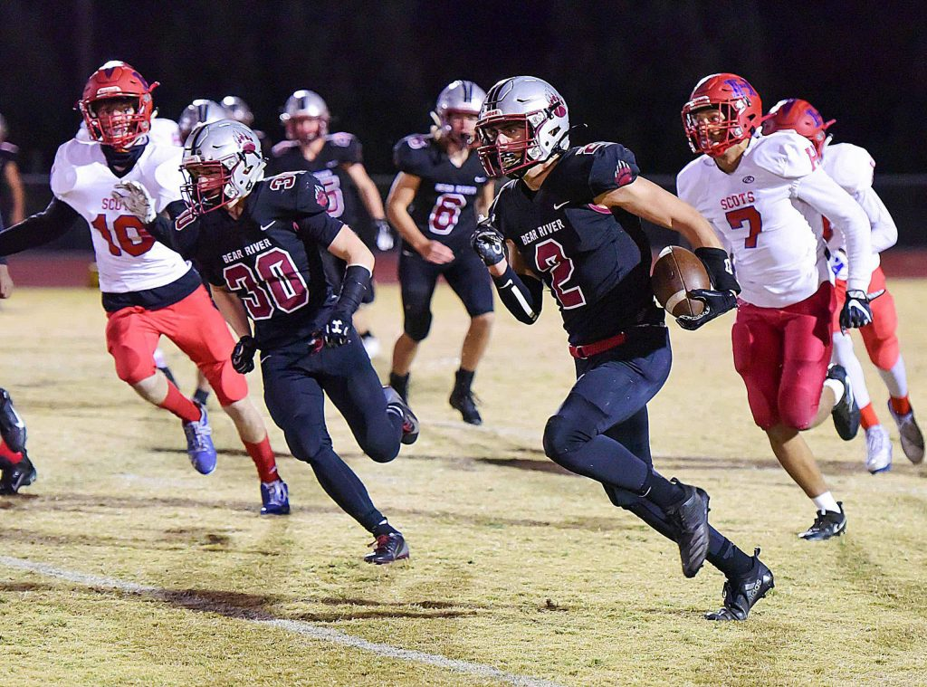 Bear River's Colton Jenkins returns a kickoff 75-yards for a touchdown during a playoff game Friday night.
