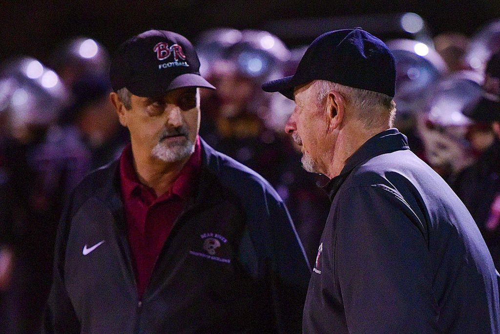 Bear River co-head coaches Scott Savoie, left, and Terry Logue during their playoff win over Highlands Friday.