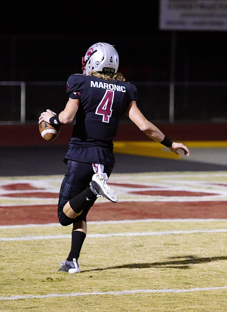 Bear River's Tre Maronic retuns an interception for a touchdown during a playoff game against Highlands Friday.