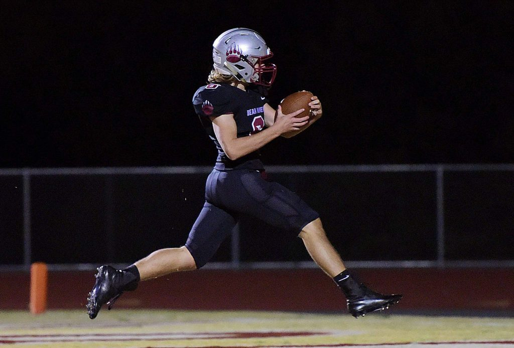 Bear River's Joe Knowlton scores a touchdown during a playoff game against Highlands Friday. The Bruins won, 64-26.