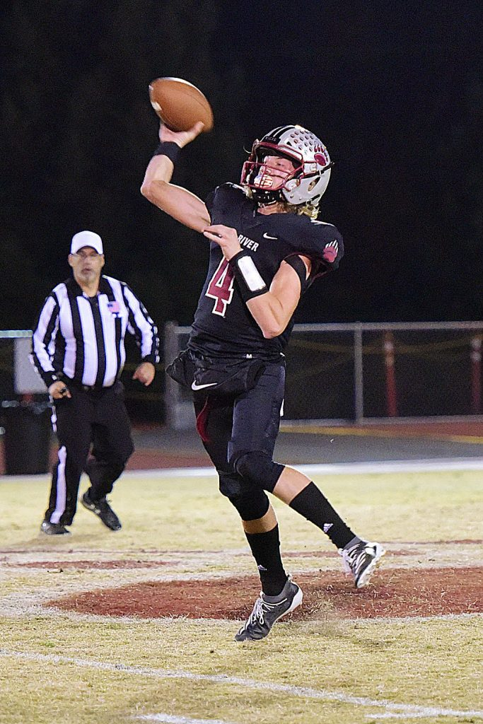 Bear River's Tre Maronic throws during a playoff game against Highlands Friday.