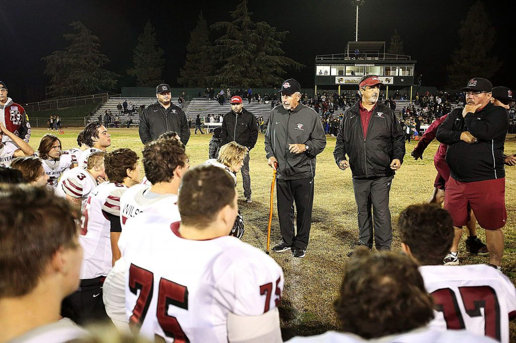 Bear River co-head coach Terry Logue address his team telling them he is proud of their accomplishment that led them to their post season appearance and second round match against the defending state champion Hilmar Yellowjackets.