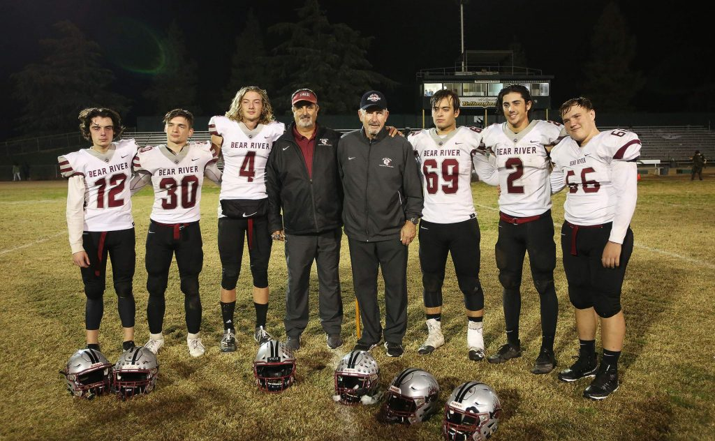 The six and only Bear River seniors on this year's varsity team is a record low according to head coaches Scott Savoie and Terry Logue (center).