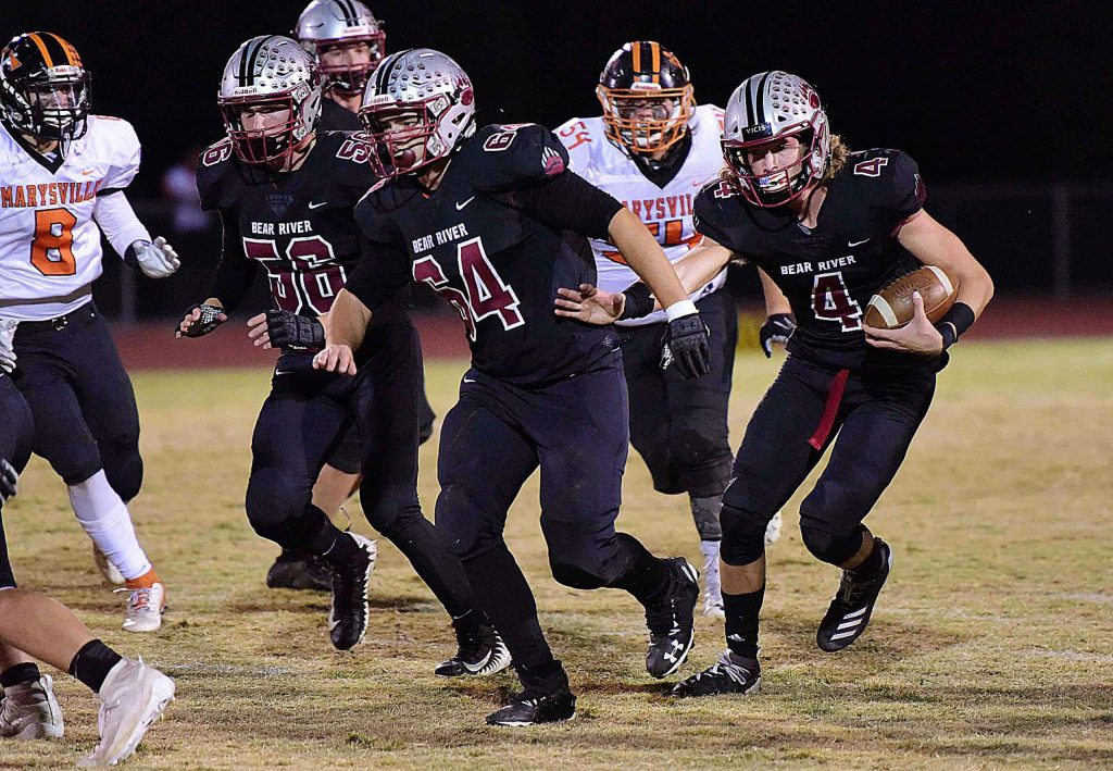 Bear River's Tre Maronic (4), Nick Pasciuti (64) and Warren Davis (56) all earned All-PVL honors for their their play this season.
