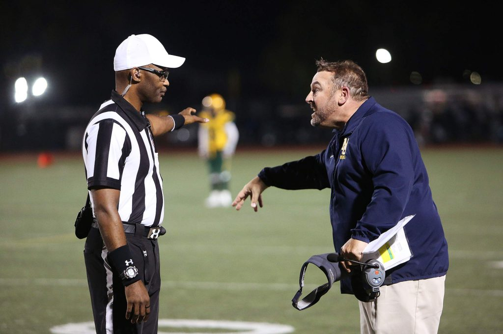 Miners head coach Brad Sparks had some choice words for the officiating that was questioned by the Nevada Union sideline on many plays.