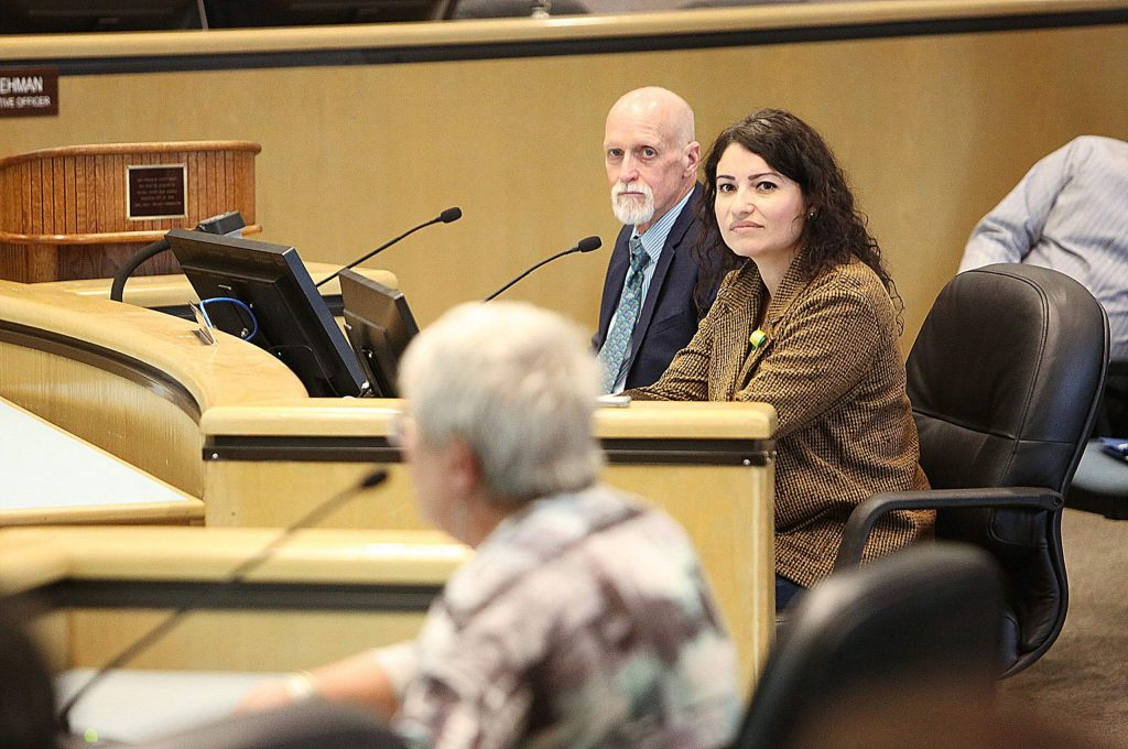Gold Country Services Executive Director Janeth Marroletti listens to public comments given to the Nevada County Board of Supervisors Tuesday morning regarding the need for county support for senior services.