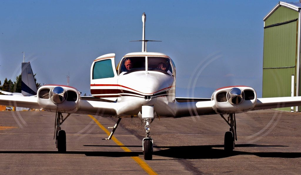 Bill Rorden's 1959 twin engine Cessna 310, boasts a 35-foot wingspan.