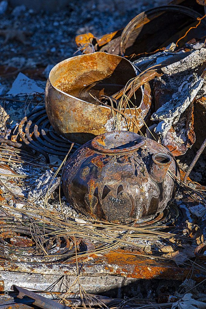 Pots still remain on a stove melted in the Camp Fire of 2018.