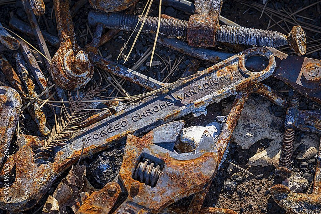 A victim of the Camp Fire in Paradise finds her husband's tools among the devastation.