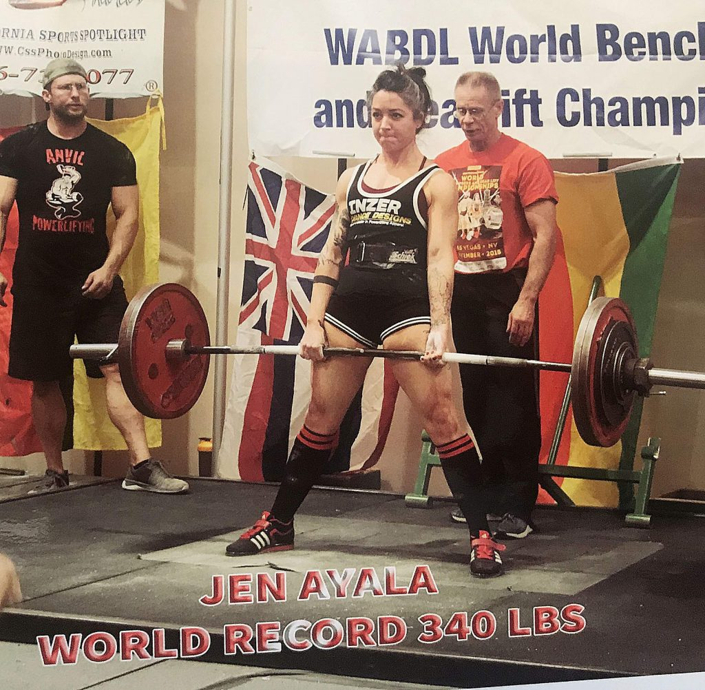 Jen Ayala, a fitness coach at Best Life Fitness Academy in Grass Valley, recently set a new world record in her weight class of deadlifting 340 pounds, destroying the old record of 270 pounds. Hosted by The World Association of Benchers and Deadlifters, the competition was live-streamed from Las Vegas on Nov. 15.