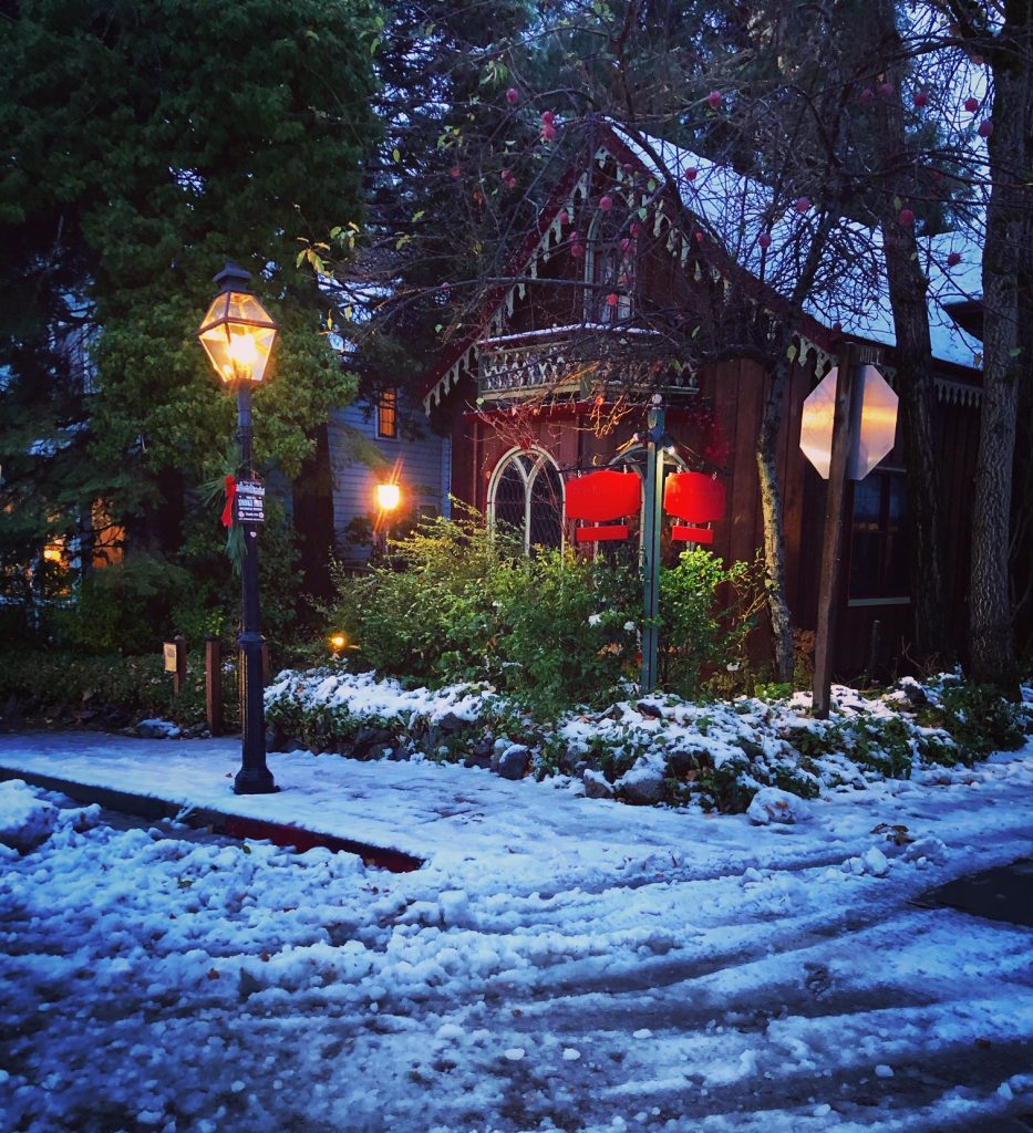 A snowy morning at The Two Room Inn in downtown Nevada City.