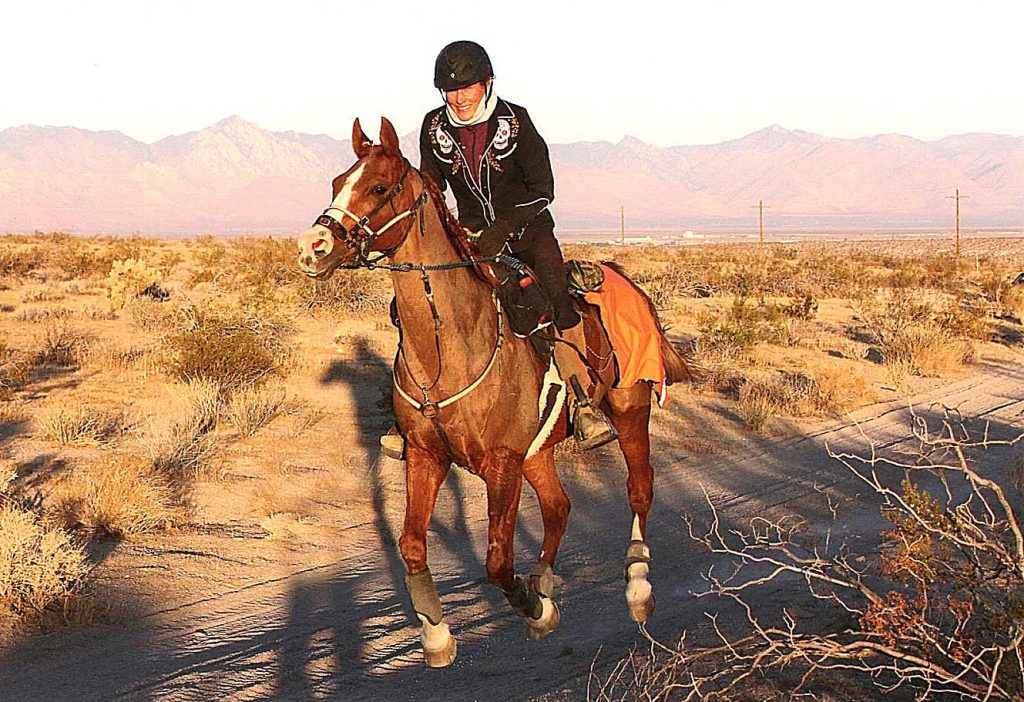 Rough and Ready endurance rider Susannah Jones, with 2019 American Endurance Ride Circuit national champion Diablo Maj, following their 50-mile endurance race in Ridgecrest, CA, on Oct. 31.