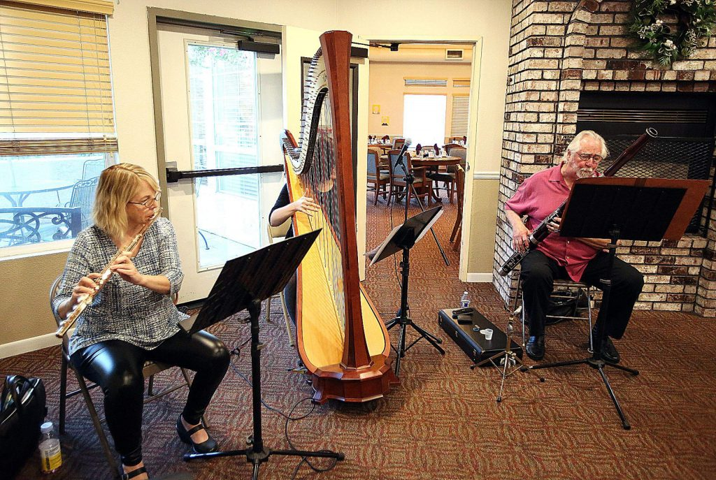 Saturday, Kirsti Powell on Flute, Sage Po on Harp, and Dave Riddles on Bassoon, played at Atria, at Cascades of Grass Valley, and Brunswick Village (pictured).