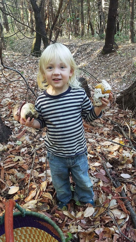 Reed Nicholson with wild mushrooms.