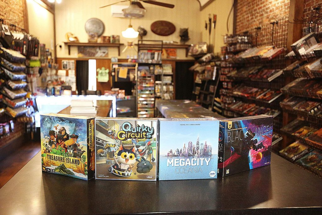 A few of this year's up and coming board games are on display at the entrance of Zak Lewis' Grass Valley Games store on Mill Street.