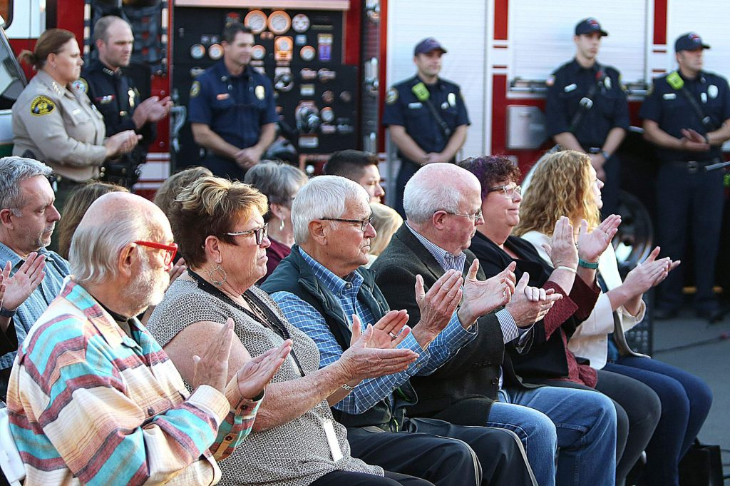 Nevada County supervisors, along with Grass Valley and Nevada City council members, applaud the speeches given by Supervisors Heidi Hall, Dan Miller, and Grass Valley Councilwoman Lisa Swarthout, as well as Nevada City Councilwoman Reinette Senum.