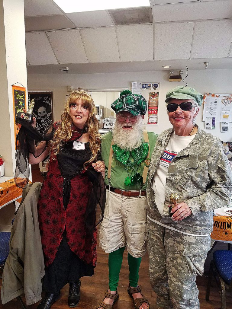 Seniors celebrating Halloween at Gold Country Community Services lunch café.