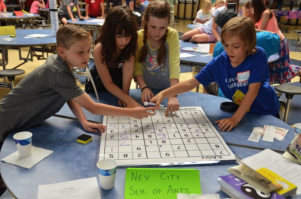 The youngest team from Nevada City School of the Arts competes in the Third Annual Children's Team Sudoku Tournament held at Nevada Union High School. From left to right: Holden James, Zoelia Riley, Norah Wiley and Riley Dungan.