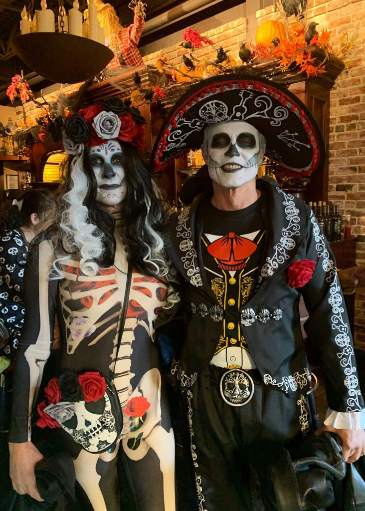 Day of the Dead costumed couple at Friar Tuck's on Halloween night.