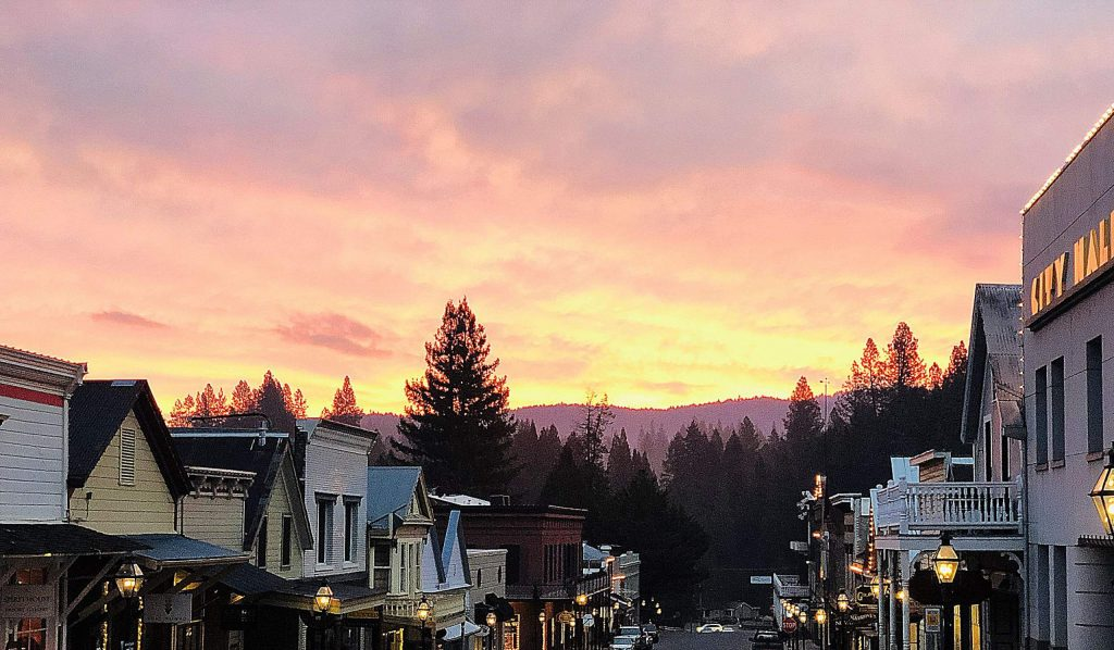 Sunset in downtown of Nevada City.